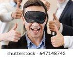 joyful positive man wearing a... | Shutterstock . vector #647148742
