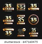 35th anniversary logo set with... | Shutterstock .eps vector #647160475