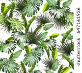tropical leaf repeating pattern ... | Shutterstock . vector #647161936