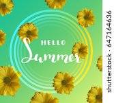 summer background with yellow... | Shutterstock .eps vector #647164636