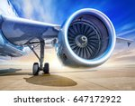 jet engine against a sunset | Shutterstock . vector #647172922