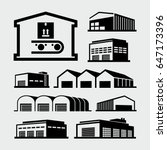 warehouse buildings vector icons | Shutterstock .eps vector #647173396