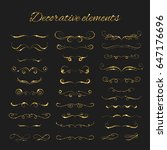 dividers set. gold ornate... | Shutterstock . vector #647176696