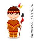 cartoon indian. cute little kid ...   Shutterstock .eps vector #647176876
