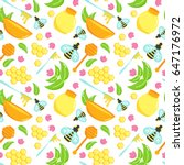 seamless pattern with honey... | Shutterstock . vector #647176972