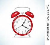 retro red alarm clock. vector... | Shutterstock .eps vector #647181742