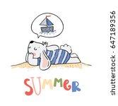 cute little bunny.  hand drawn... | Shutterstock .eps vector #647189356
