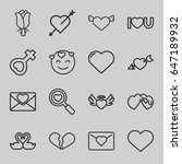 romance icons set. set of 16... | Shutterstock .eps vector #647189932