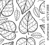 leaf black and white seamless... | Shutterstock . vector #647191888