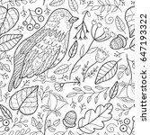 cute bird seamless pattern with ... | Shutterstock . vector #647193322