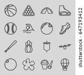 recreation icons set. set of 16 ... | Shutterstock .eps vector #647193412