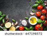 olive oil spices herbs and... | Shutterstock . vector #647198572