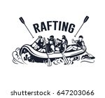 rafting logo with rafting boat... | Shutterstock .eps vector #647203066