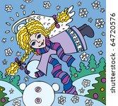 angel girl models snowman. it s ...   Shutterstock .eps vector #64720576