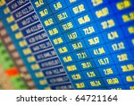 Financial and stock exchange data on computer screen. Shallow depth of field - stock photo