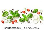 collection of fresh herbs and... | Shutterstock . vector #647233912