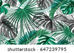 vector tropical palm leaves... | Shutterstock .eps vector #647239795
