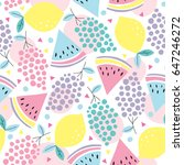 Stock vector seamless summer fruits pattern vector illustration 647246272