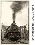 old locomotive on the railway ... | Shutterstock . vector #647247046