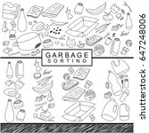 garbage sorting background hand ... | Shutterstock .eps vector #647248006