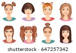 set of cute girls teenagers... | Shutterstock .eps vector #647257342