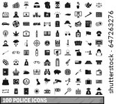 100 police icons set in simple... | Shutterstock .eps vector #647263276