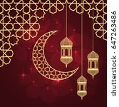 Ramadan Greeting Card On Red...