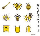 set of honey icons. the line... | Shutterstock .eps vector #647268142