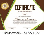 certificate or diploma template  | Shutterstock .eps vector #647274172