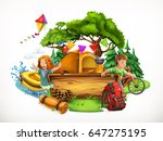 summer camp. camping and... | Shutterstock .eps vector #647275195