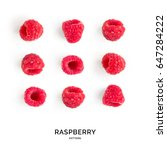seamless pattern with raspberry.... | Shutterstock . vector #647284222
