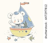 Stock vector cute baby bear sailor on a boat cartoon hand drawn vector illustration can be used for baby t 647297812
