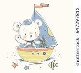 cute bear sailor on a boat... | Shutterstock .eps vector #647297812