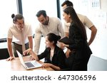 business partners discussing... | Shutterstock . vector #647306596