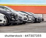 cars for sale stock lot row....   Shutterstock . vector #647307355