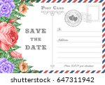 vintage postcard wedding... | Shutterstock .eps vector #647311942