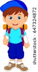 backpacker boy thumbs up | Shutterstock .eps vector #647324872