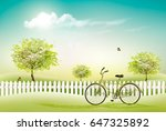 beautiful summer countryside... | Shutterstock .eps vector #647325892