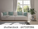 white room with sofa and green... | Shutterstock . vector #647339386