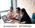 business partners discussing... | Shutterstock . vector #647345326