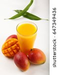 glass of refreshing cold mango... | Shutterstock . vector #647349436