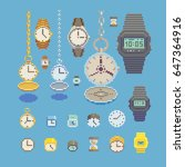 various type of watches  clocks ...   Shutterstock .eps vector #647364916