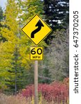 curve ahead highway sign 60 mph | Shutterstock . vector #647370205