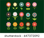 a set of different stylized... | Shutterstock .eps vector #647372092