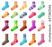 flat design colorful socks set... | Shutterstock .eps vector #647382046