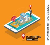 smart taxi order service app...   Shutterstock .eps vector #647383222
