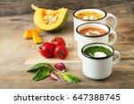 homemade vegetarian soup made... | Shutterstock . vector #647388745