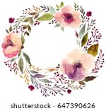 watercolor floral wreath with... | Shutterstock . vector #647390626
