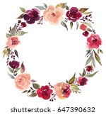 watercolor floral wreath with... | Shutterstock . vector #647390632