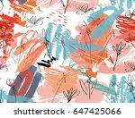 doodles with grunge texture... | Shutterstock .eps vector #647425066